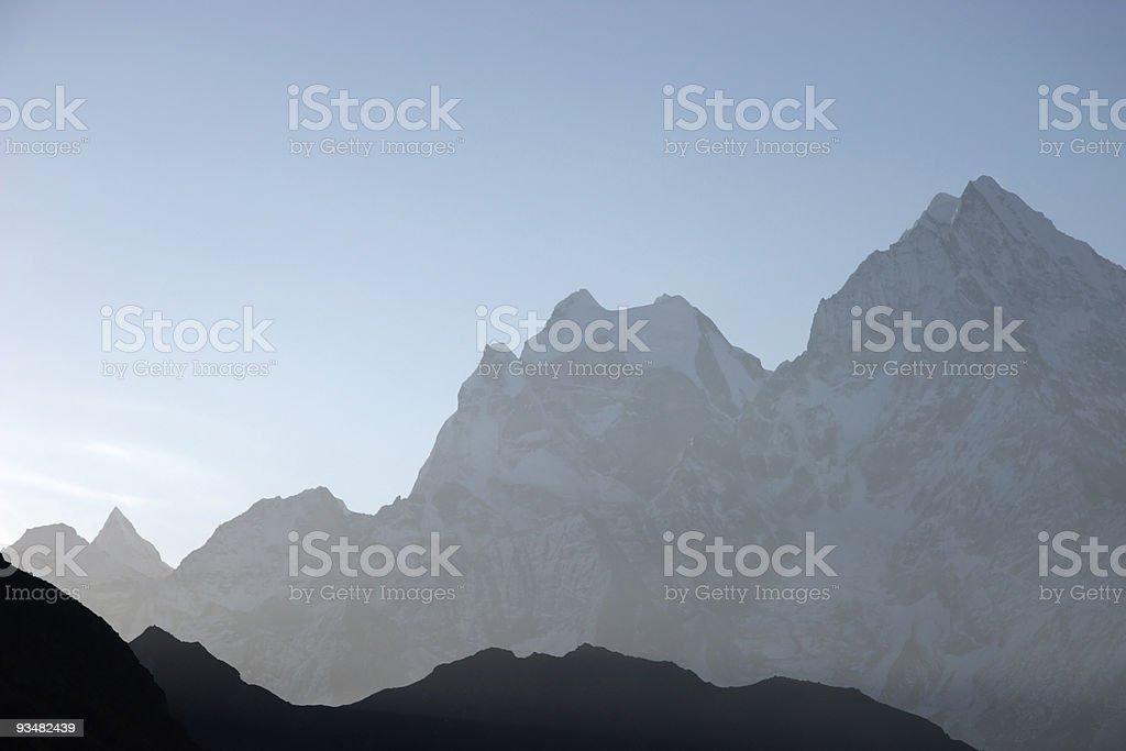 아침입니다 산 실루엣, Himalaya, 네팔 - 로열티 프리 0명 스톡 사진
