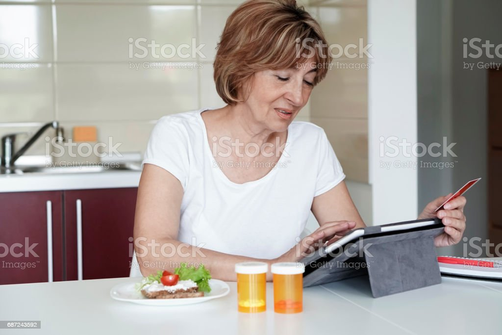 Morning of a patient at home stock photo