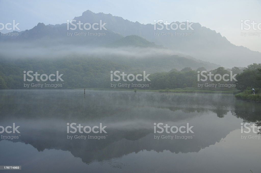 Morning of mirror pond (鏡池の朝) royalty-free stock photo