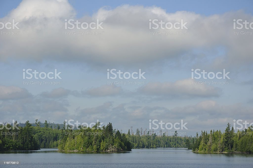 Morning on a Remote Wilderness Lake stock photo