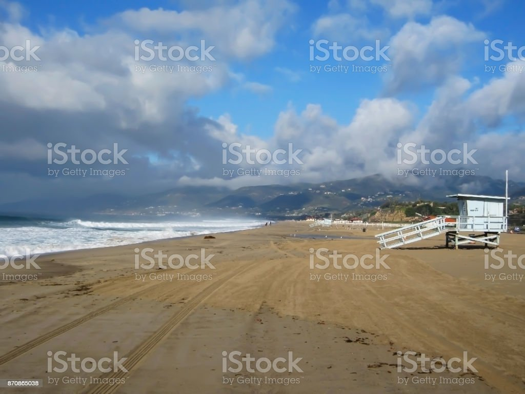 Morning on Beach after Rainstorm stock photo