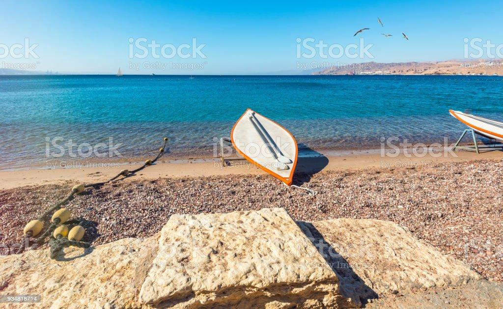 Eilat, 이스라엘에서 중앙 공공 해변에 아침 - 로열티 프리 0명 스톡 사진