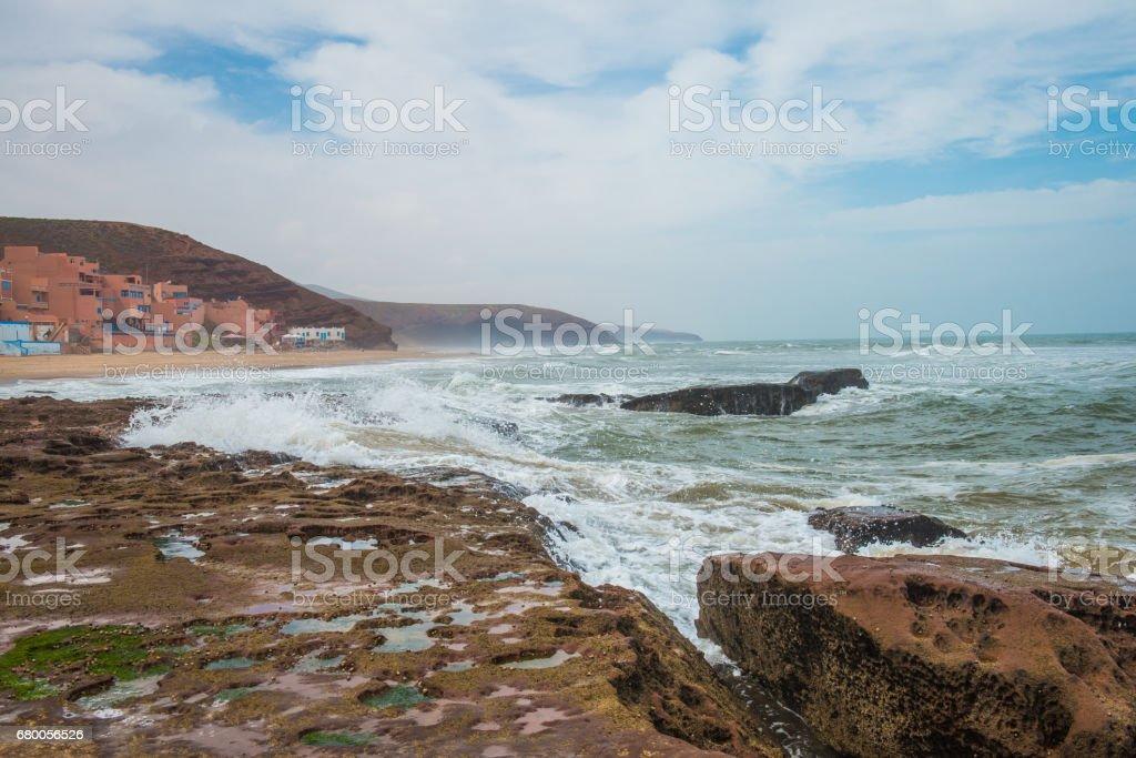 Morning on Legzira Beach, Sidi Ifni, Morocco, Africa stock photo