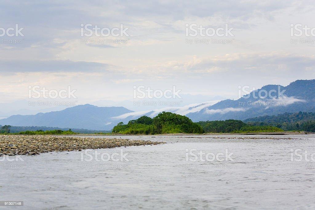 Morning on Manu River stock photo