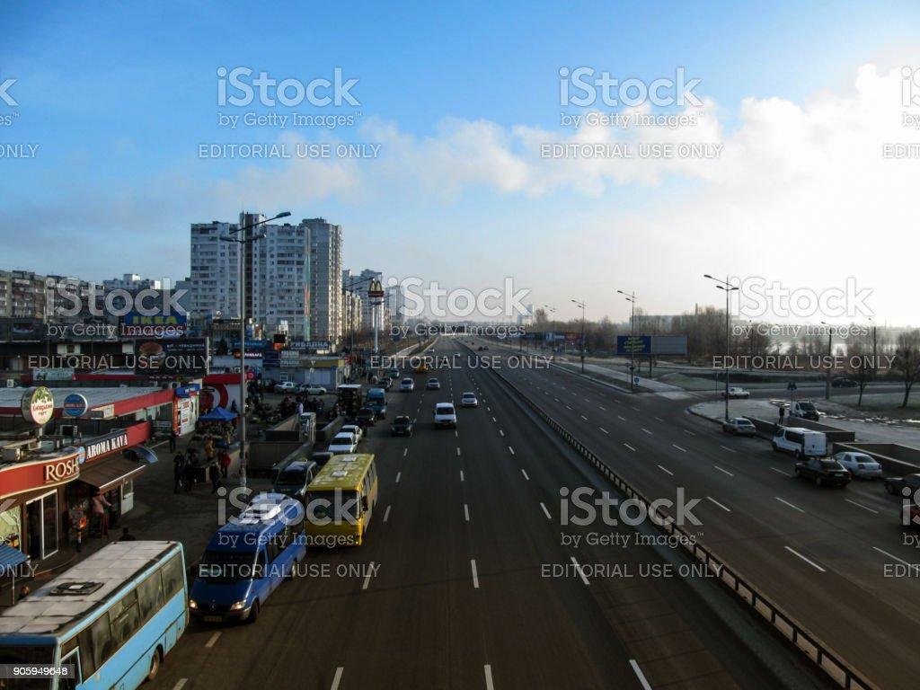Kiev, Ukraine - December 31, 2017: Morning on Mykola Bazhan avenue near Kharkivska Metro Station in Kiev aerial view stock photo