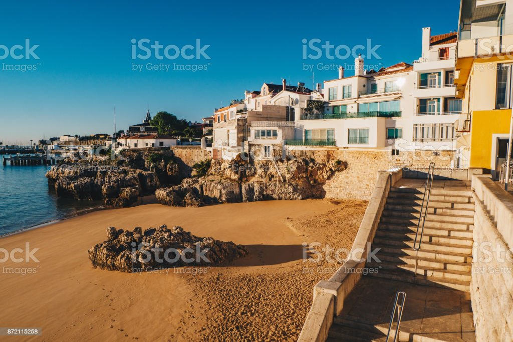 Morning on the beach in Cascais, Portugal stock photo