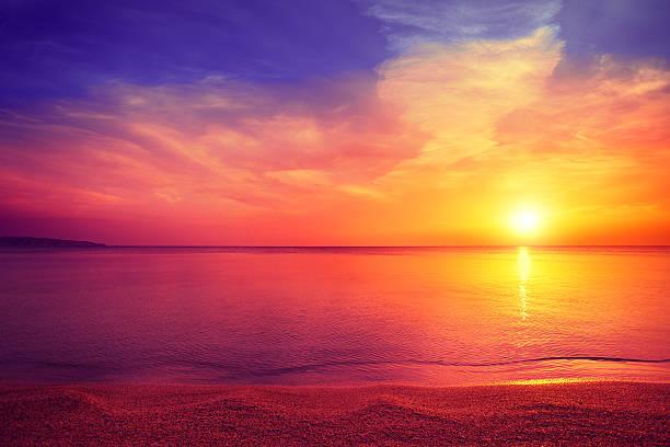 morning on the beach - pink sunrise bildbanksfoton och bilder