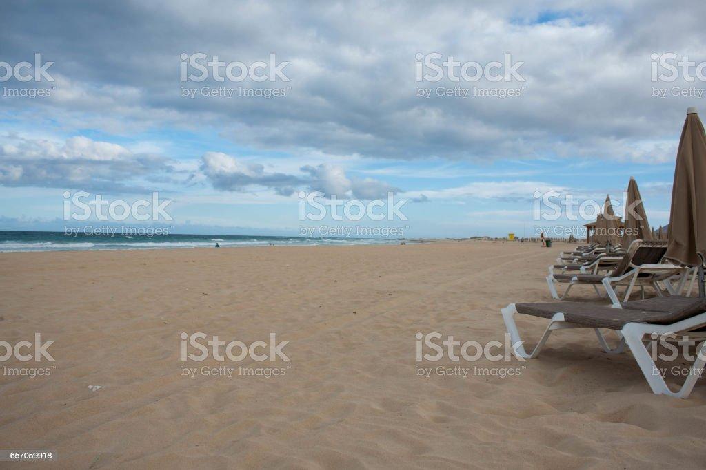 Morning on the empty beach stock photo