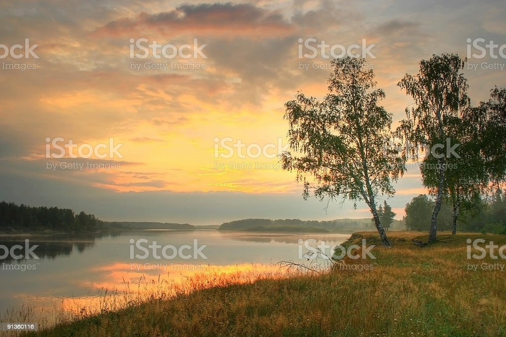 Morning on the river royalty-free stock photo
