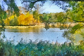 Sunny morning on a quiet river in early autumn - watercolor drawing