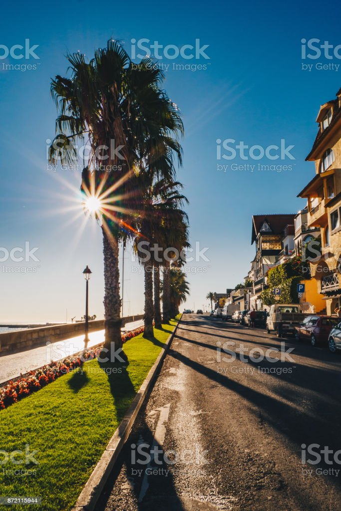 Morning on the streets of Cascais, Portugal stock photo