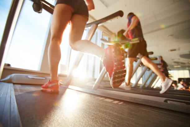 Morning on treadmill stock photo