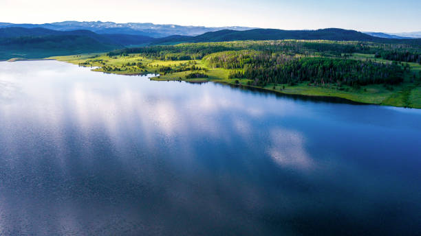 Morning Over Steamboat Lake Morning Over Steamboat Lake - Scenic mountain landscape views. Clark, Colorado steamboat springs stock pictures, royalty-free photos & images