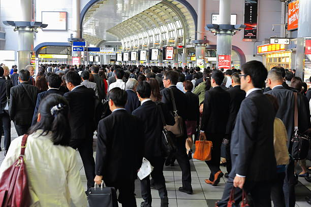 morning peak hour in the metro station. tokyo-japan. 7668 - 通勤 ストックフォトと画像