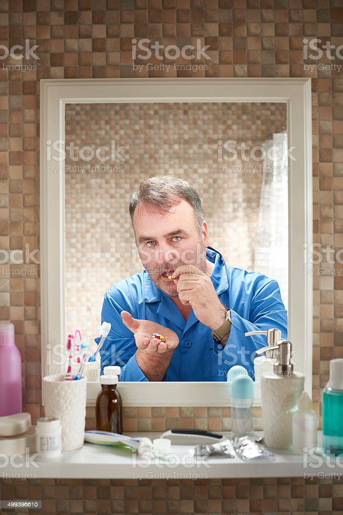 morning pill routine stock photo
