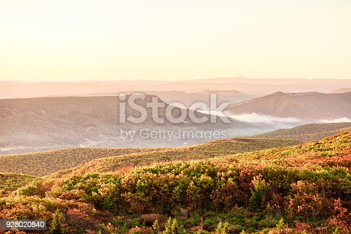 istock Morning pink warm yellow sunrise with sky and golden orange autumn foliage in Dolly Sods, Bear Rocks, West Virginia with overlook of mountain valley, fog, mist 928020840