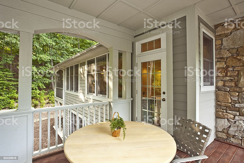Morning Porch of home easily allows comfort and relaxation. stock photo