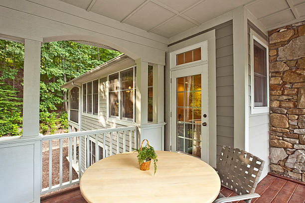 morning porch of home easily allows comfort and relaxation. - covering stock photos and pictures