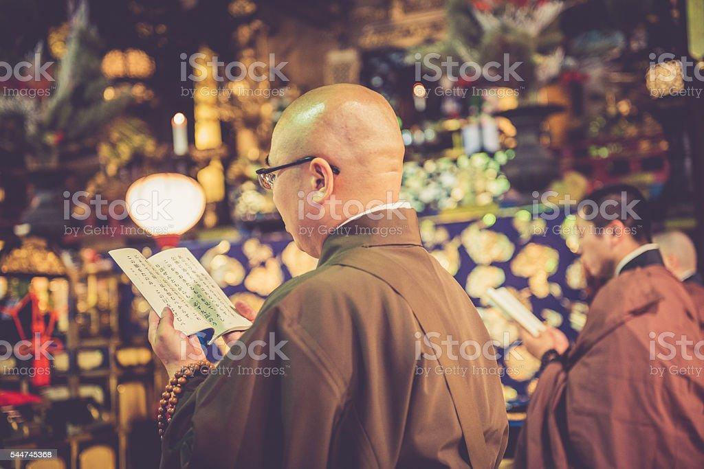 Morning Praying at Chion-ji Temple in Kyoto, Japan stock photo