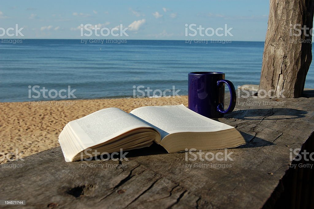 Morning read by the lake royalty-free stock photo