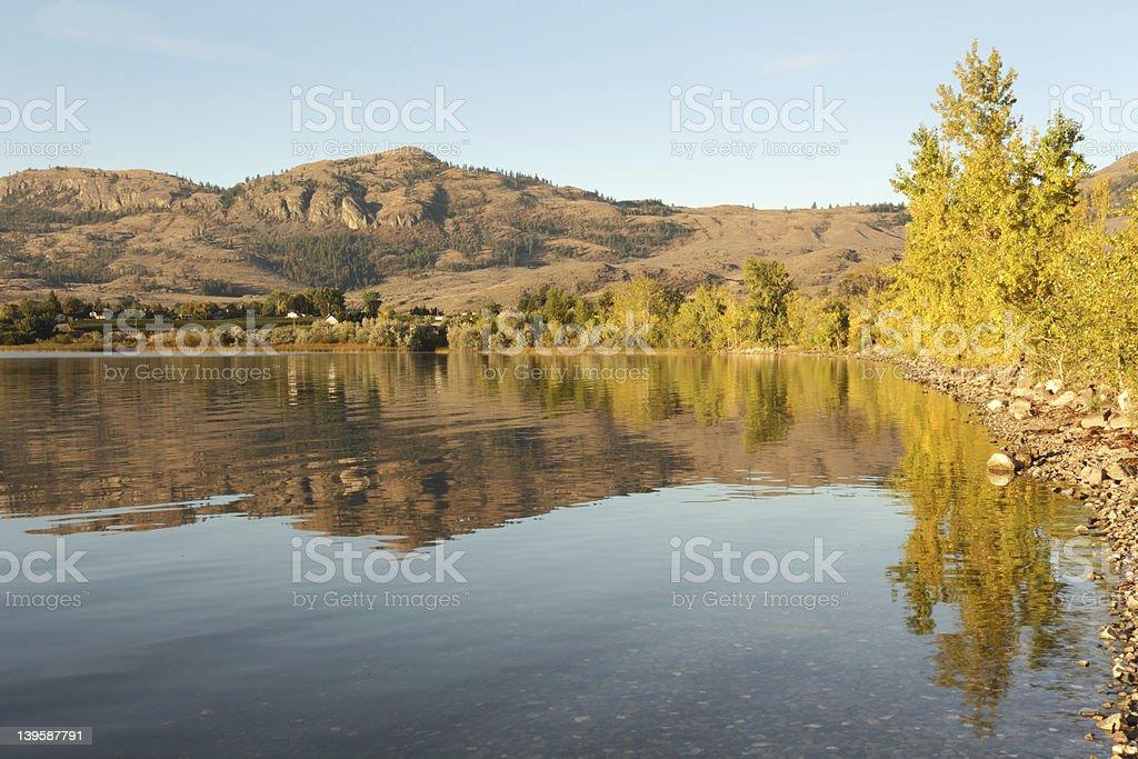 Morning Reflection Osoyoos Lake stock photo