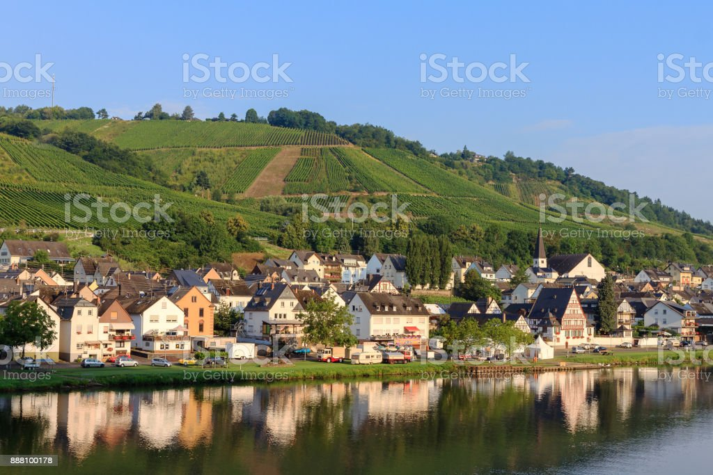 Morning reflection Zell am Mosel stock photo