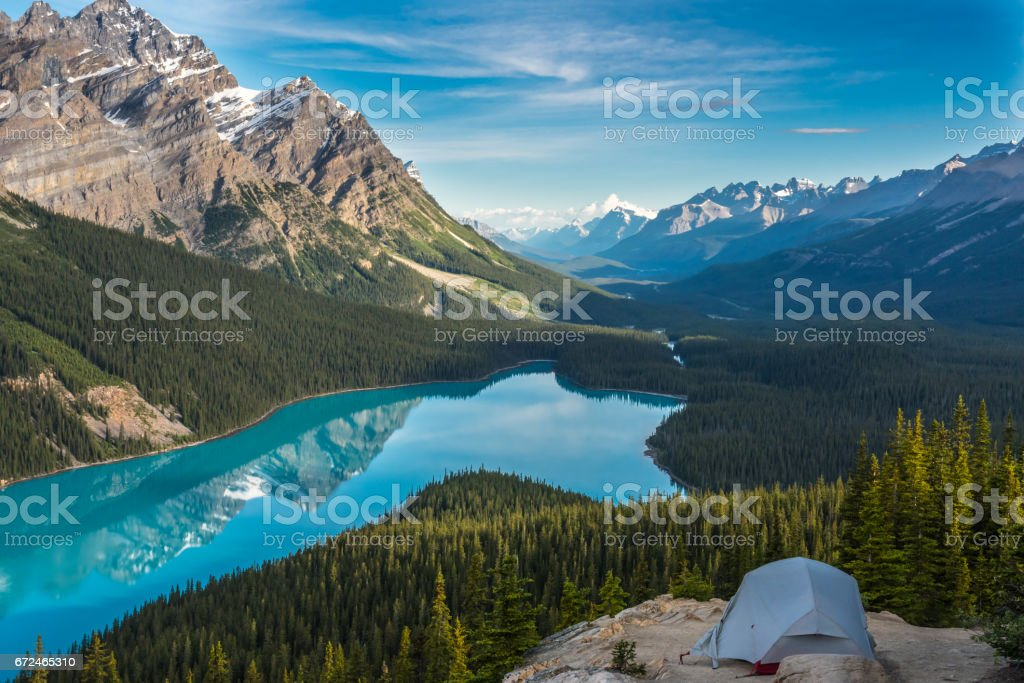 Morning Reflections at Peyto Lake stock photo