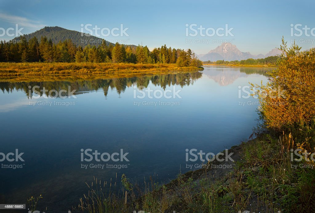Morning reflections on Snake River, mountains, Teton National Pa stock photo