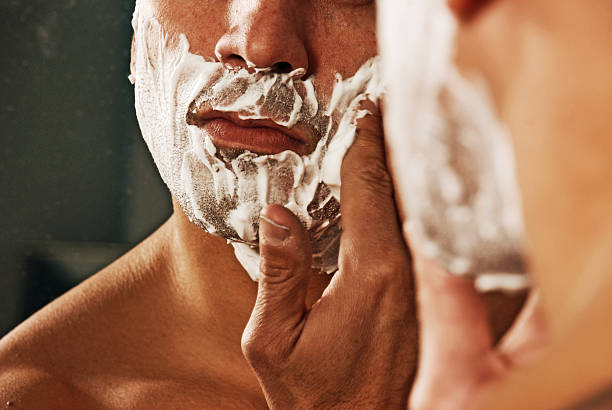 morning ritural - shaving cream stock pictures, royalty-free photos & images