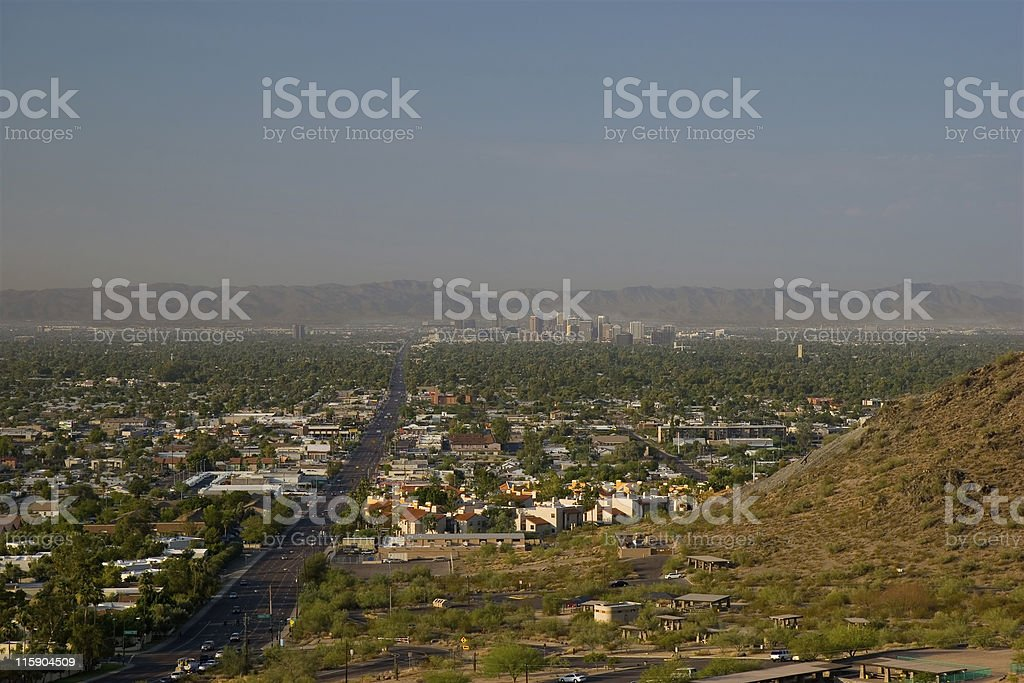 Morning Road to Phoenix Uptown, AZ royalty-free stock photo