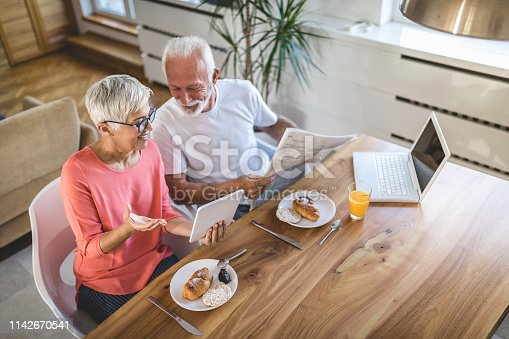 Elderly couple in love enjoying their time spent together in a luxurious apartment on a beautiful sunny day.
