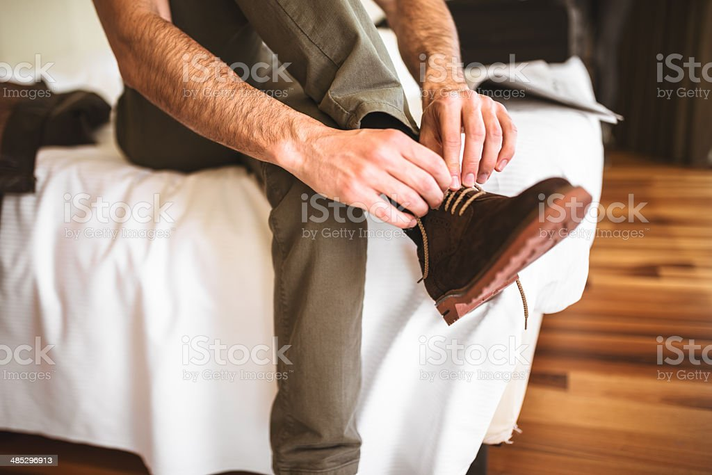 Morning routine to getting dressed stock photo