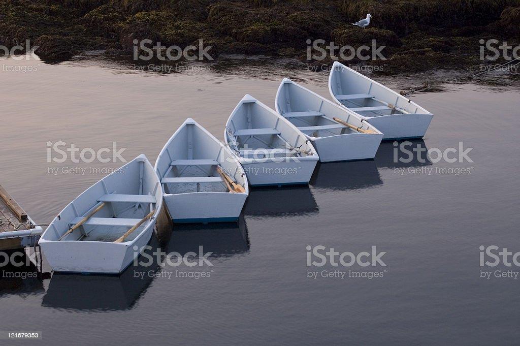 Morning Rowboats royalty-free stock photo