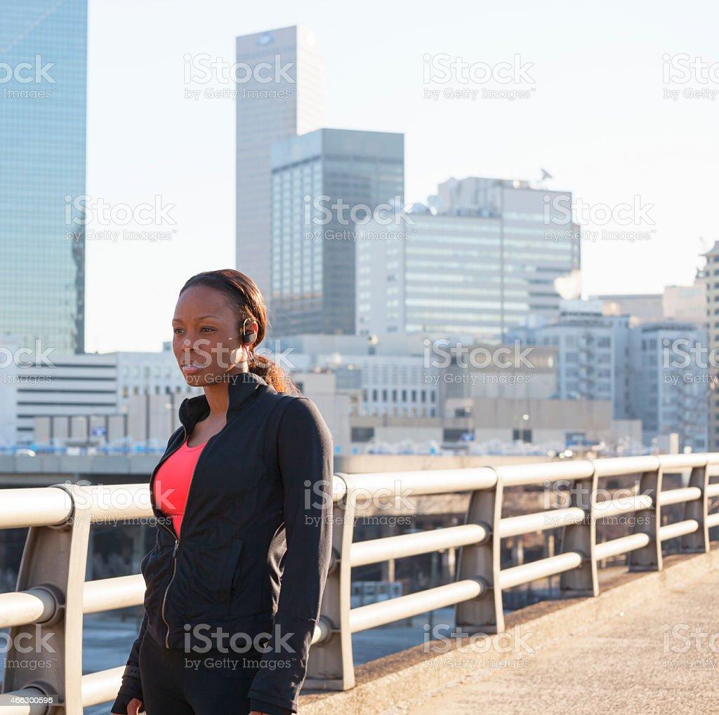 morning run through the city stock photo