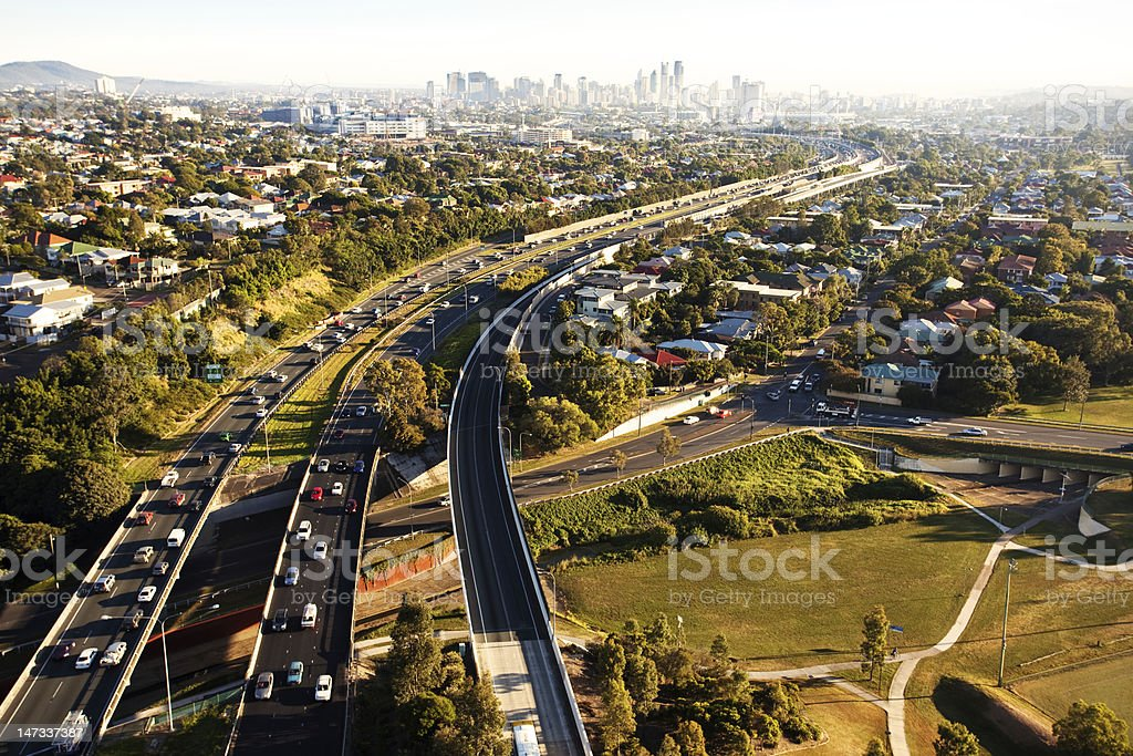 Morning rush hour from above in Brisbane stock photo