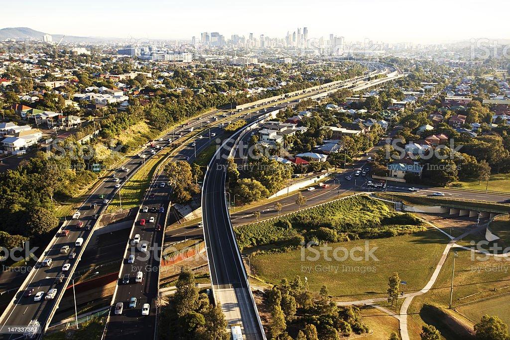 Hora do rush de manhã de cima em Brisbane - foto de acervo