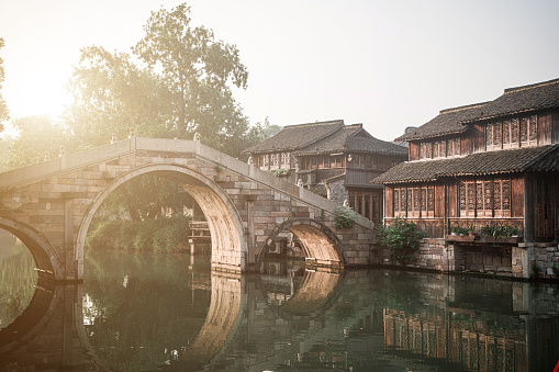 Morning scene in Wuzhen, China