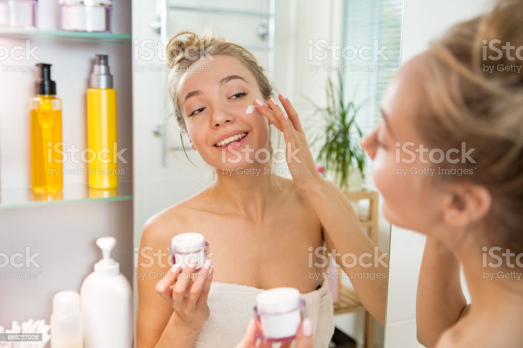 Morning skincare routine. stock photo