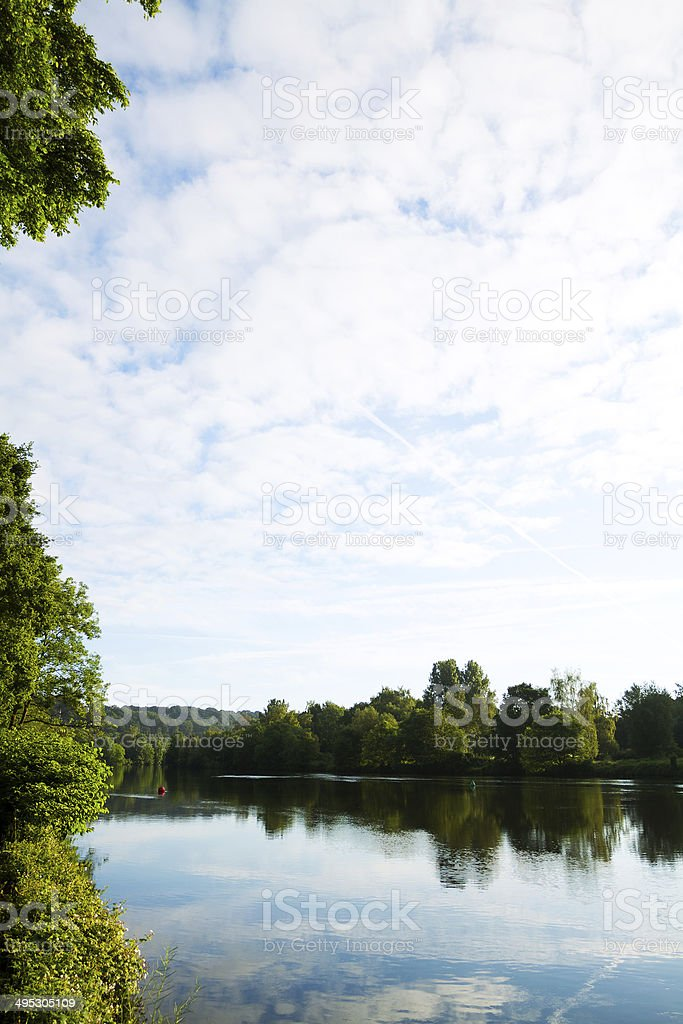 Morning sky and river Ruhr in early spring morning, south of Essen,...
