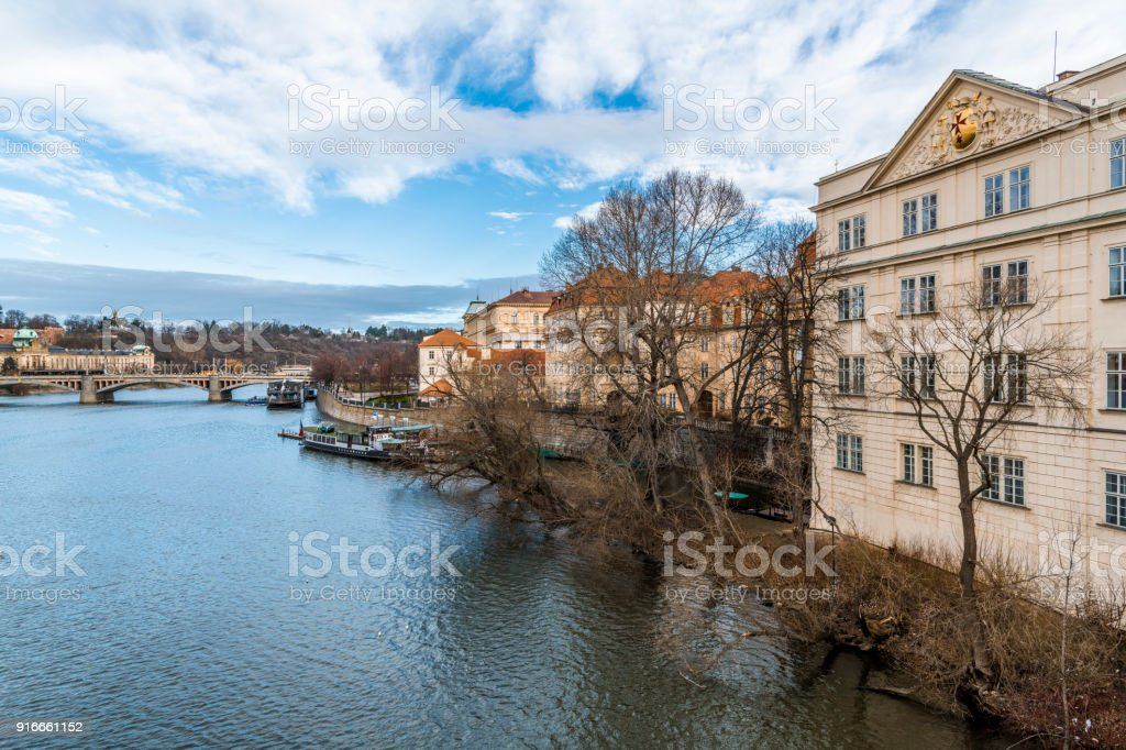 Morning sky over the river Vltava stock photo