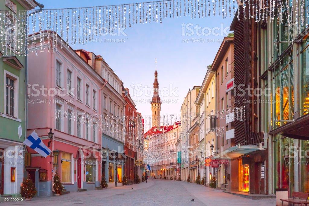 Morning street in the Old Town of Tallinn, Estonia stock photo
