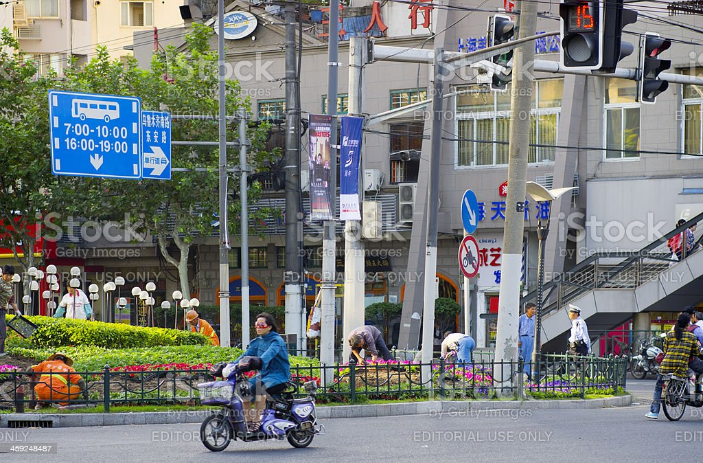 Morning Street Shanghai China royalty-free stock photo