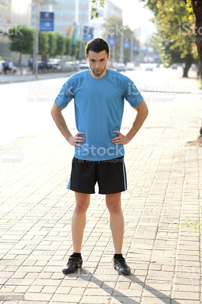 morning stretching royalty-free stock photo