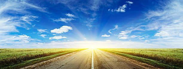 Morning summer road panorama stock photo