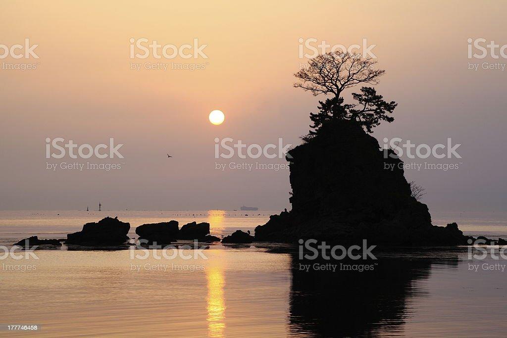 Morning sun at the Amaharashi coast royalty-free stock photo