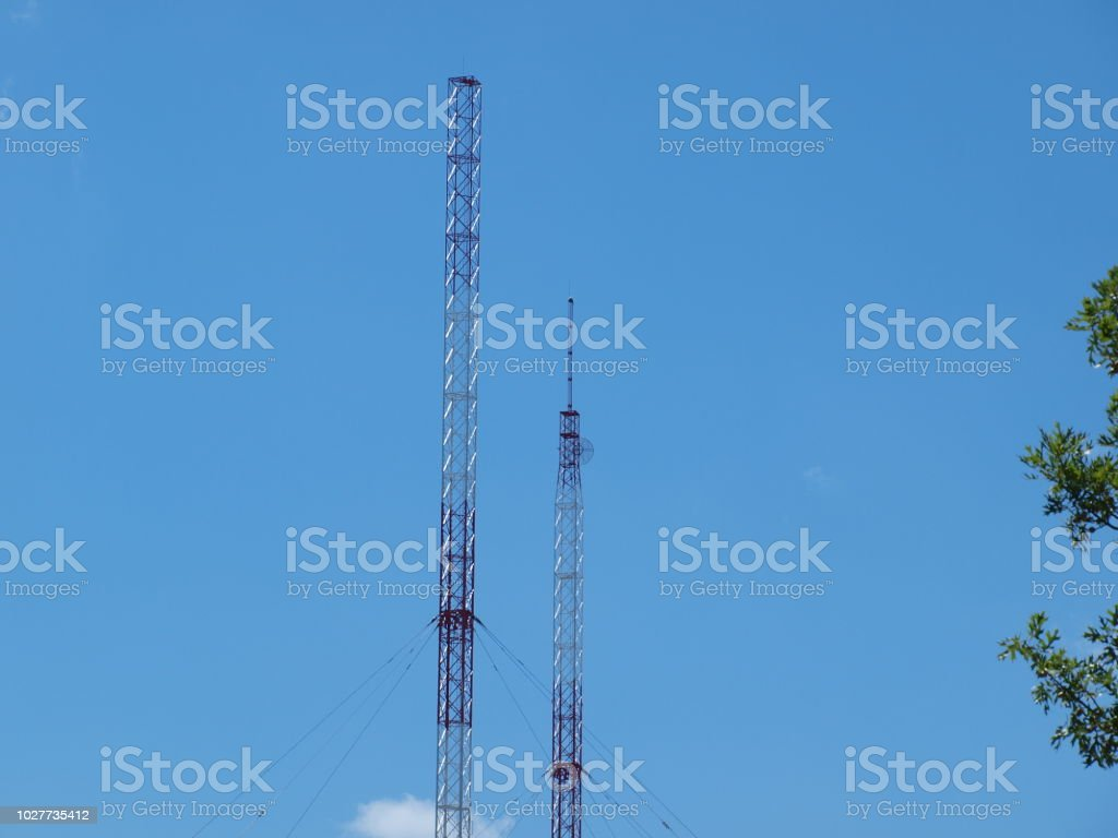 Morning Sun Lights Up Radio Towers stock photo