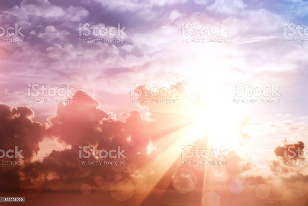 Morning sun ray and bokeh sky stock photo