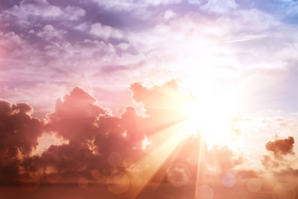 morning sun ray and bokeh sky - religion stock pictures, royalty-free photos & images