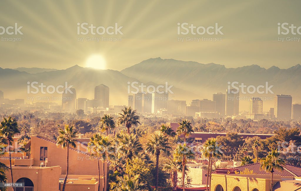 Morning sun rays over Phoenix, Arizona,USA stock photo