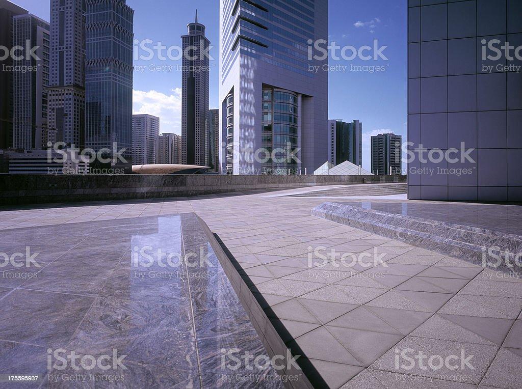 Morning sunlight hitting financial district of Dubai stock photo